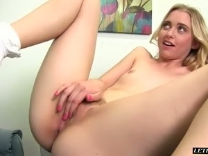 Leggy blond slut Chloe Couture got her muff polished with BBC in mish pose hard