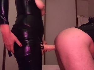 Pegging with huge strapon