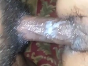 playing with her creamy pussy