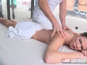 BoxTruckSex - Skinny Teen gets her first public cumshot
