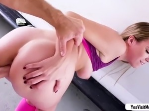 Blonde babe Kimber flash tits for cash
