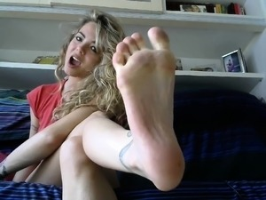 Busty blonde in foot fetish porn