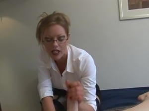 girl with glasses blowjob