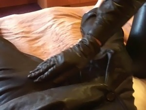 sexy girl leather gun