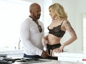 Sssy and fine blondie in sexy black lingerie wants to fuck a black man