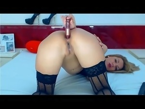 european whore on webcam does great atm ass-to-mouth free show huge dildo...