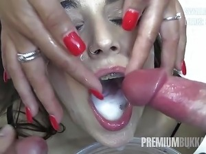 shemale swallows own cum video