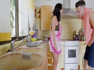 Russian teen forced to fuck hard in the kitchen