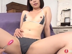 Shy Japanese girl with natural tits loves when her wet