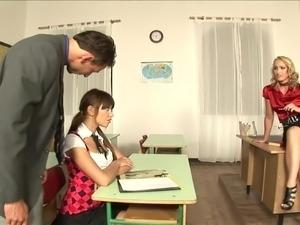 asian teen with teacher