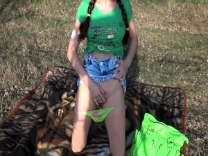 Pigtailed teen with a lovely ass gets fucked in the outdoors