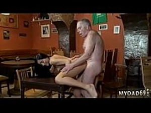 old and young handjob