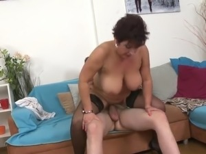 sexy busty mature mother fucks young son