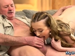 young girl licks old mans ass