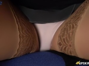 Icelandic whore Tindra Frost gonna freeze you with her upskirt solo show
