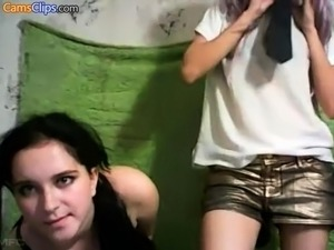 A sexy amateur teen lesbian brunette is eating pussy